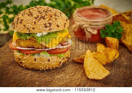 Closeup Of Home Made Burger