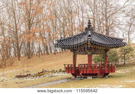 Korean Traditional Garden And Pagoda In A Public Garden In Kiev In Winter