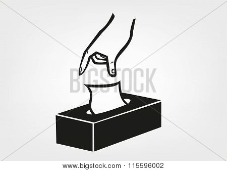 Hand Gets a Tissue from a Box. Editable Clip Art.