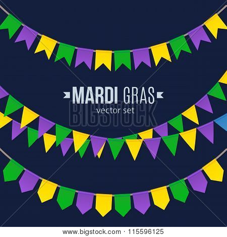 Mardi Gras traditional flags set isolated on dark background