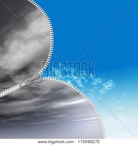 Concept or conceptual 3D abstract zipper from dramatic dark cloudy sky to a sunny summer blue sky with clouds background
