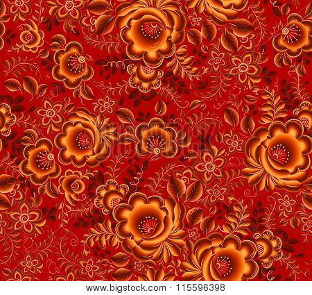 Orange floral seamless pattern on red background in Russian tradition hohloma style