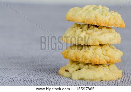 Stack Of Homemade Fruitcake Cookies
