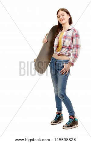 Smiling Skater Girl Holding Skateboard