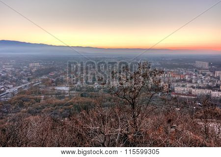Amazing Sunset view of city of Plovdiv from Dzhendem tepe hill, Bulgaria
