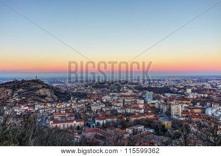 Sunset Landscape of city of Plovdiv from Dzhendem tepe hill