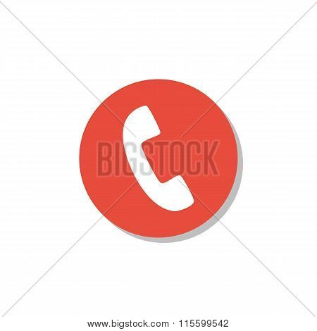 Phone Icon On Red Circle Background