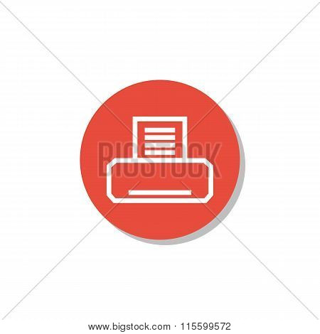 Fax Icon On Red Circle Background