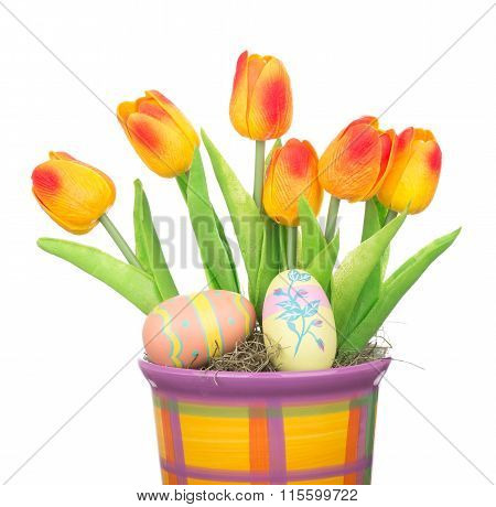 Tulips And Easter Eggs In A Pot