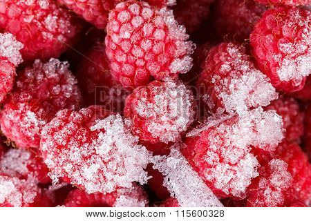 Frozen Raspberry Background