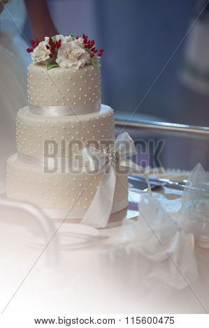 Delicious Tiered White Wedding Cake Decorated With Roses And A Ribbon Closeup