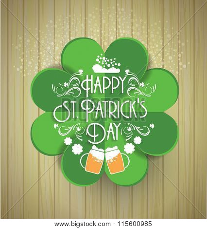 Wooden background with St.Patrick day. Saint Patrick's Day Typographic Background