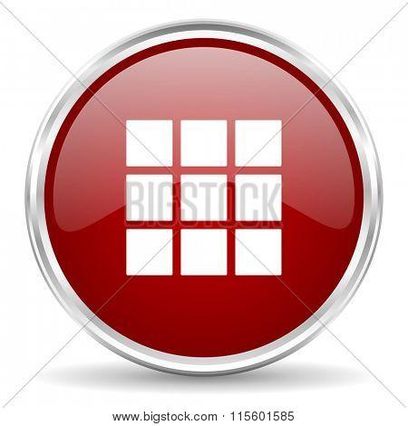 thumbnails grid red glossy circle web icon