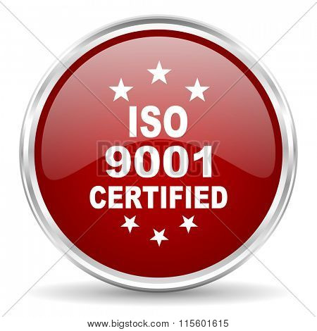 iso 9001 red glossy circle web icon