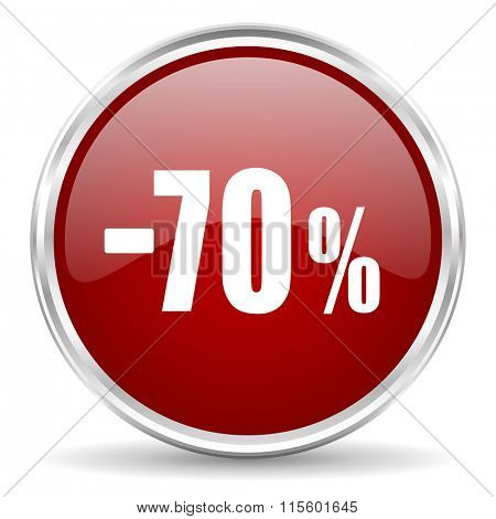 70 percent sale retail red glossy circle web icon