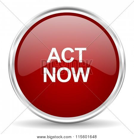 act now red glossy circle web icon
