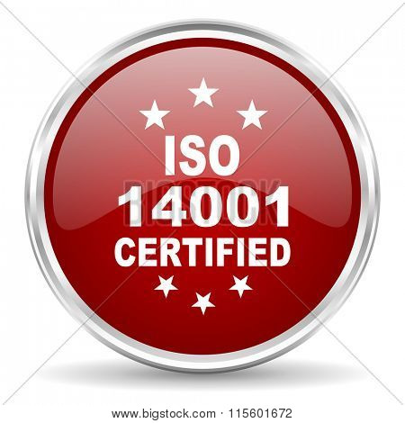 iso 14001 red glossy circle web icon