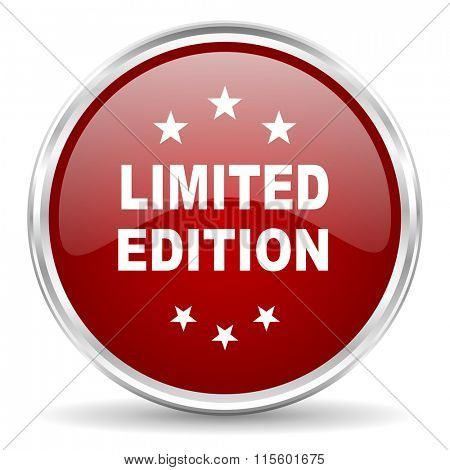 limited edition red glossy circle web icon