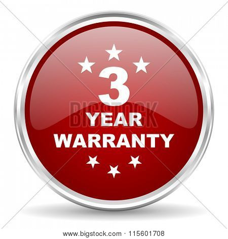 warranty guarantee 3 year red glossy circle web icon