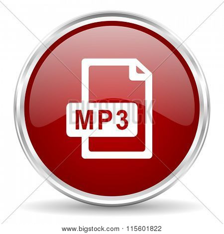 mp3 file red glossy circle web icon