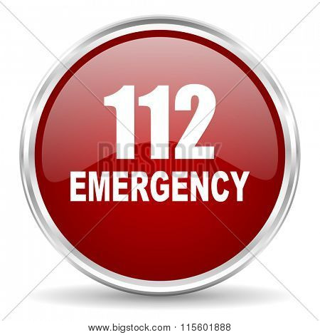 number emergency 112 red glossy circle web icon