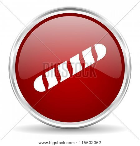baguette red glossy circle web icon