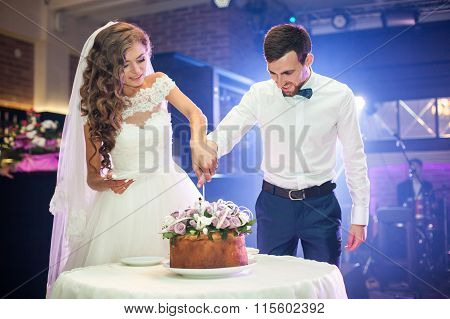 Romantic Couple Of Newlyweds Carving Delicious And Tasty Decorated Wedding Cake At Reception