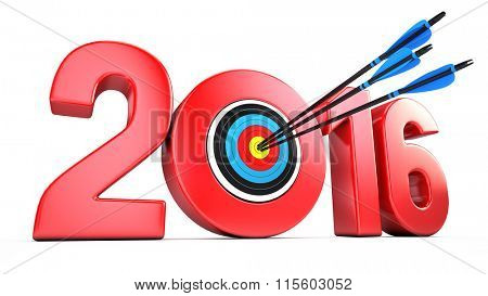 success business concept - 2016 year and Arrows hitting the center of target