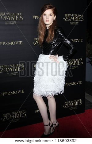 LOS ANGELES - JAN 21:  Ellie Bamber at the Pride And Prejudice And Zombies Premiere at the Harmony Gold Theatre on January 21, 2016 in Los Angeles, CA