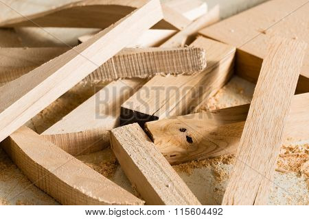 Wood products are on the bench in the carpentry workshop