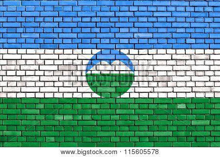 Flag Of Kabardino-balkaria Painted On Brick Wall