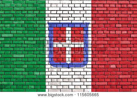 Flag Of Kingdom Of Sardinia Painted On Brick Wall