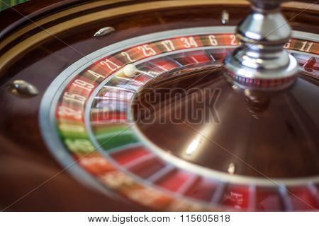 Picture of a classic casino roulette wheel.
