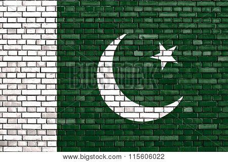 Flag Of Pakistan Painted On Brick Wall
