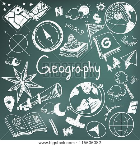 Geography And Geology Education Subject Chalk Handwriting Doodle Icon Of Earth Exploration And Map D