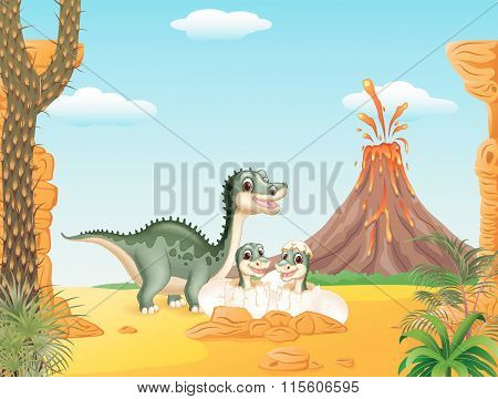Cartoon smile mom tyrannosaurus dinosaur and baby dinosaurs hatching with prehistoric background