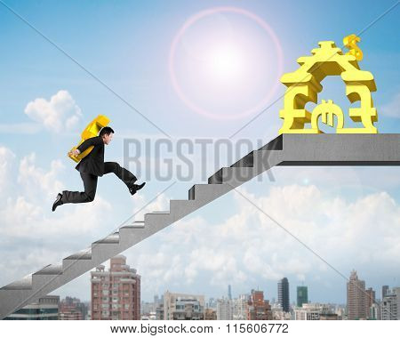Businessman Carrying Gold Usd On Stairs To Money Stacking House
