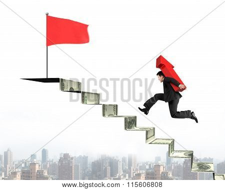 Businessman Running On Money Stairs With Arrow For Top Flag