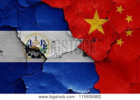 Flags Of El Salvador And China Painted On Cracked Wall