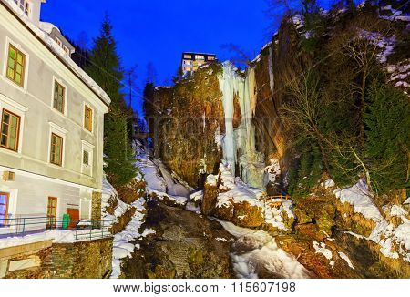 Waterfall in Mountains ski resort Bad Gastein Austria - nature background
