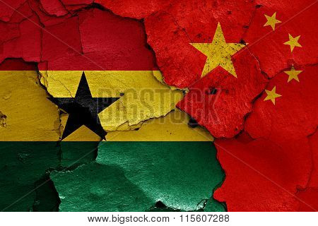 Flags Of Ghana And China Painted On Cracked Wall