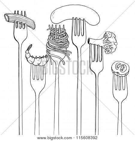 forks with foods