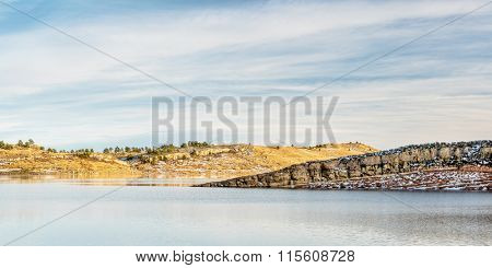 panorama of Horsetooth Reservoir, winter afternoon, Fort Collins, Colorado