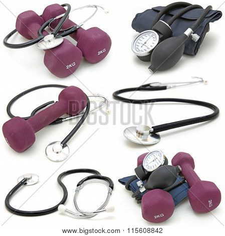collection stethoscope and tonometer on a white background