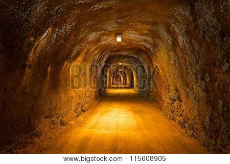Tunnel in Resort Rafailovici - Montenegro - architecture and nature background