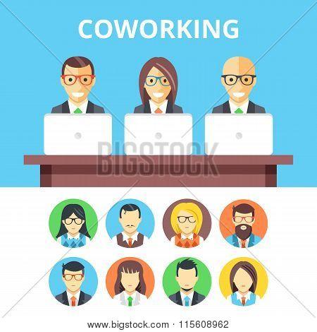 Coworking flat illustration and flat avatar icons set