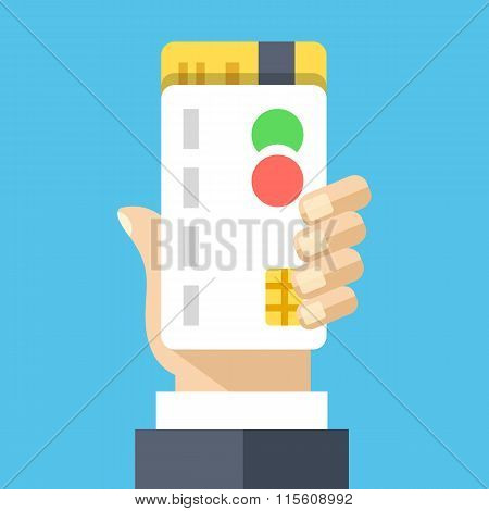 Hand holds credit cards. Creative flat design vector illustration