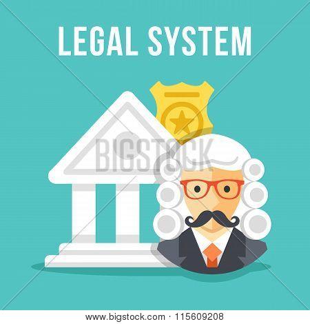 Legal system. Creative flat design vector illustration