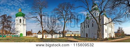 Chernigov, Ukraine - April 13, 2012: Panoramic view of the Dormition (Uspensky) Cathedral