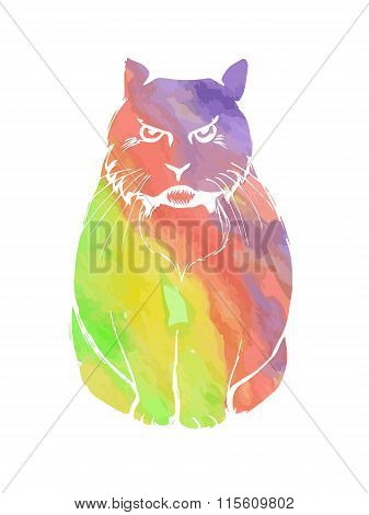 Angry Cat Rainbow Watercolor